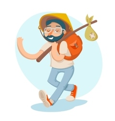 Cartoon Hipster Geek Traveler Businessman Vacation vector image