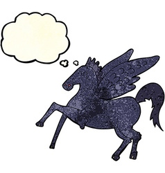 Cartoon magic flying horse with thought bubble vector