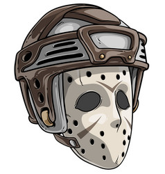 cartoon scary goalie hockey mask with helmet vector image
