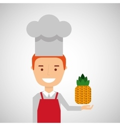Cheerful chef fresh pineapple graphic vector