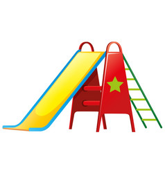 Children slide on white background vector
