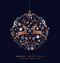 Christmas and new year copper deer bauble card vector