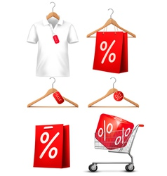 Clothes hanger with shirts with price tag Concept vector