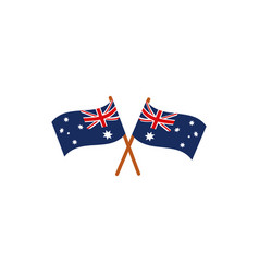 Crossed flags nation australia icon on white vector
