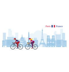 Cyclist cycling with paris france skyline vector
