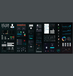 dark ui elements big set mockup for mobile vector image