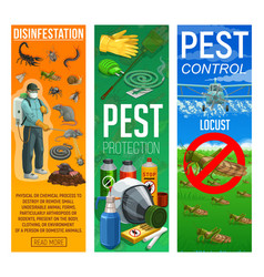 Deratization and disinfection pest control banner vector
