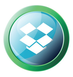 dropbox platform logo inside green circle icon on vector image