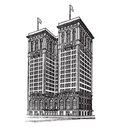 Early skyscraper economic growth vintage engraving vector