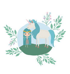 fairy with unicorn in the camp vector image