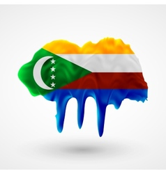Flag of Comoros painted colors vector