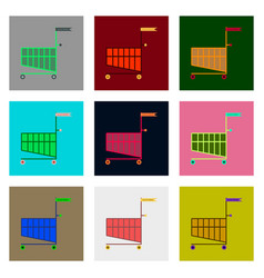 Flat assembly icons of shopping cart black friday vector