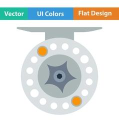Flat design icon of Fishing reel vector image