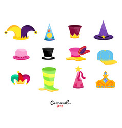 Flat set of hats for carnival vector