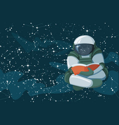 floating astronaut reading a book in the open vector image