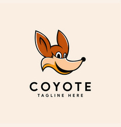 Fun mascot coyote logo icon vector