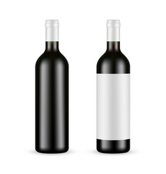 Glass wine bottle with label and blank mockup vector