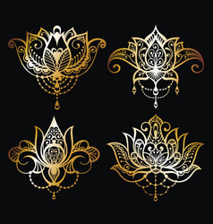 Gold lotus logo art set design vector