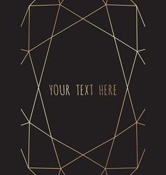gold polygonal frame geometric diamond shapes vector image