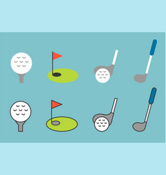Golf icon set flat line color icon design vector