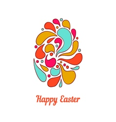 Greeting card with full color doodle easter egg-2 vector image