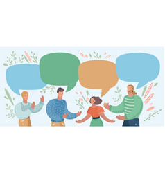group discussion friends talk to each other vector image