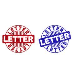 grunge letter textured round watermarks vector image