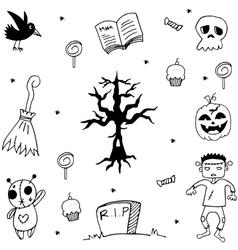 Halloween dry tree doodle vector
