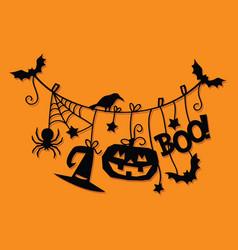 Halloween hanging decorations paper cut vector