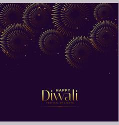 Happy diwali firework background festival card vector