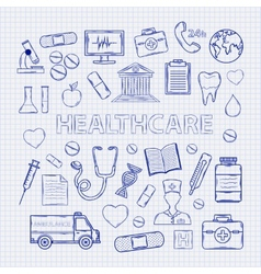 Health care set on notebook sheet vector