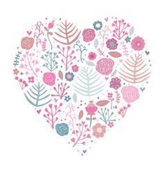 heart shape floral pink vector image