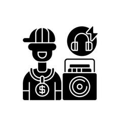 Hip hop music black glyph icon vector