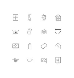 Home appliances linear thin icons set outlined vector
