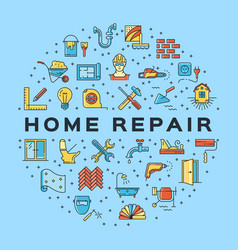 Home repair circle infographics construction icon vector