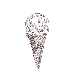 ice cream in waffle cone hand drawn vector image