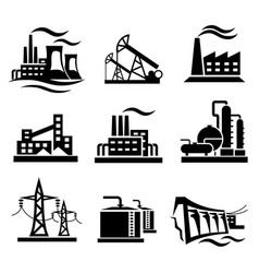 Icons collection of different power plants and vector