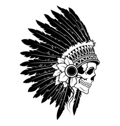 Indian skull with headdress feathers the vector
