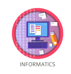 informatics subject studies themed concept logo vector image