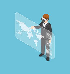 isometric businessman wearing virtual reality vector image
