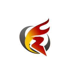 Letter r fire vector