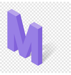 m letter in isometric 3d style with shadow vector image