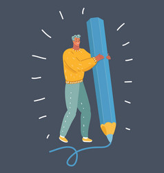 man with big pencil on dark background vector image