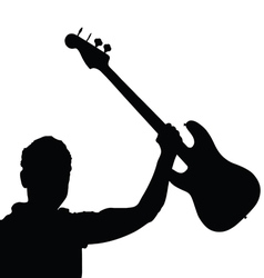 man with guitar black vector image