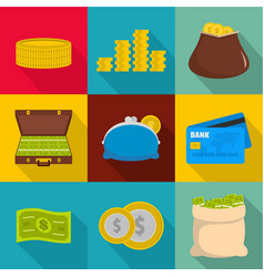 Money stockpile icons set flat style vector