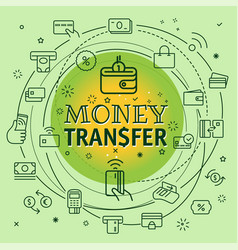 Money transfer concept different thin line icons vector