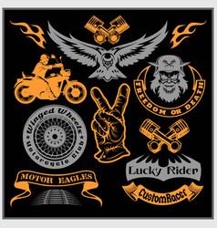 Motorcycle set with vintage custom logos vector