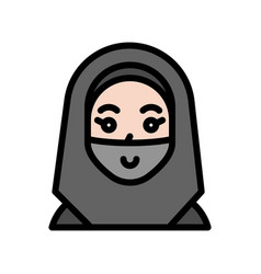 Muslim woman ramadan related filled icon vector