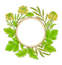 Mustard plant frame on white background vector