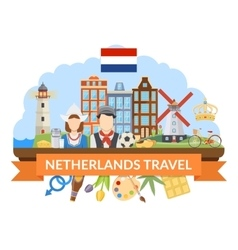 Netherlands Travel Flat Composition vector image